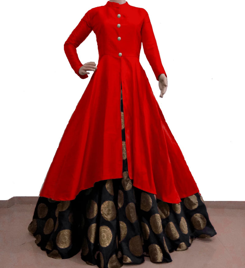 Red with black banarasi lehnga indowestern