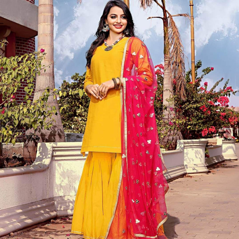 Yellow cotton sharara set
