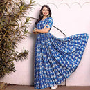 Blue block printed flaired gown