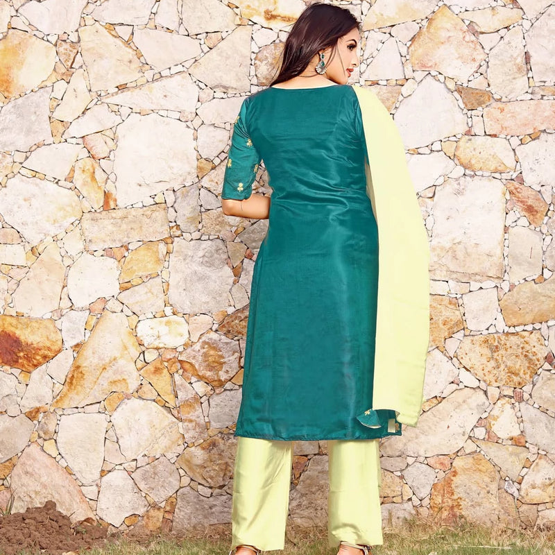 green kurti with dupatta and salwar suit set dress