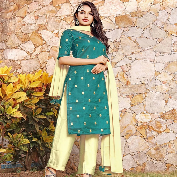 Green suit set with dupatta sequence embroidery dress