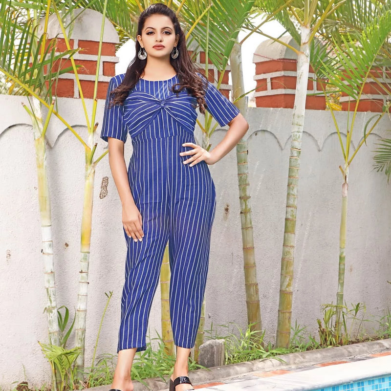 Navy blue cotton western wear jumpsuit for women's