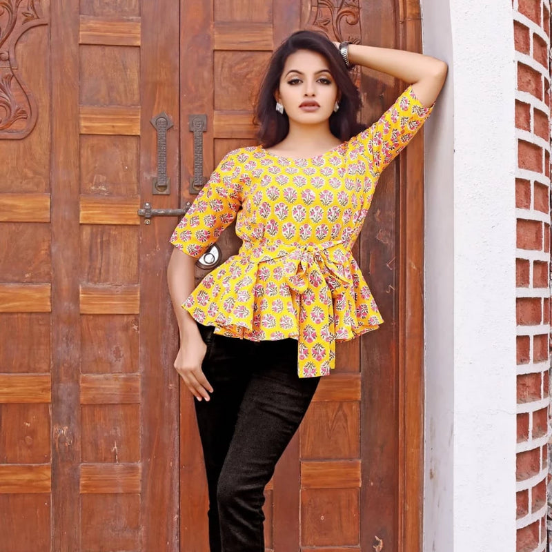 Yellow cotton block printed western wear top for jeans