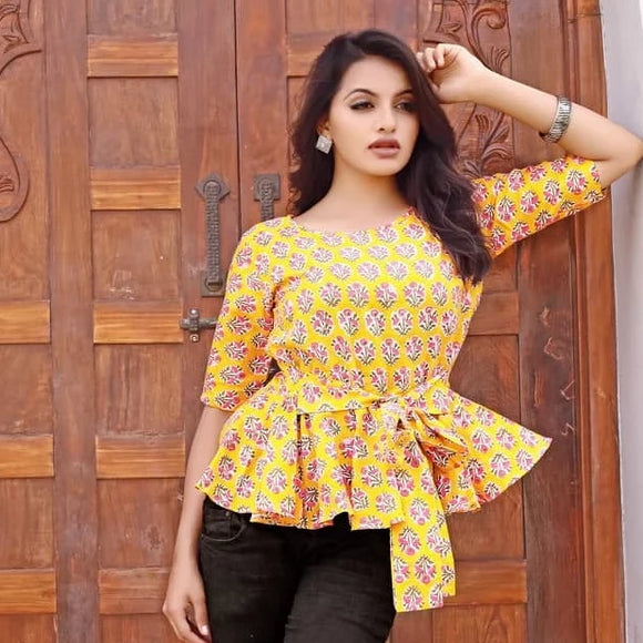 Yellow cotton block printed western wear clothing top for jeans
