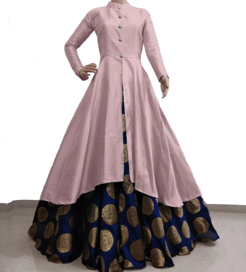 Baby Pink and navy blue banarasi indowestern for women's