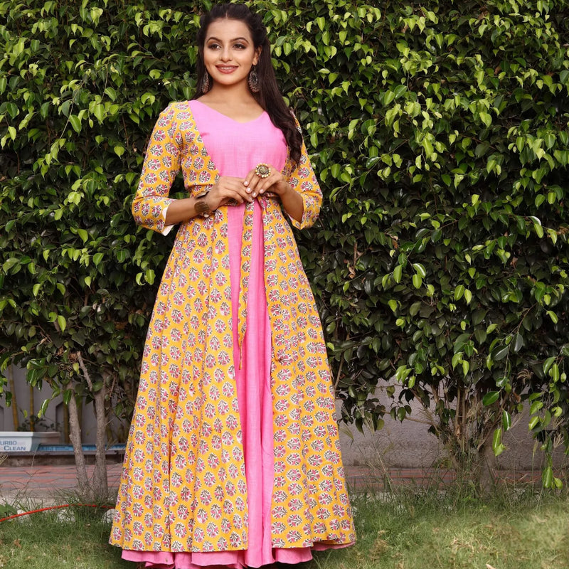 Yellow and pink block printed indowestern dresses for women