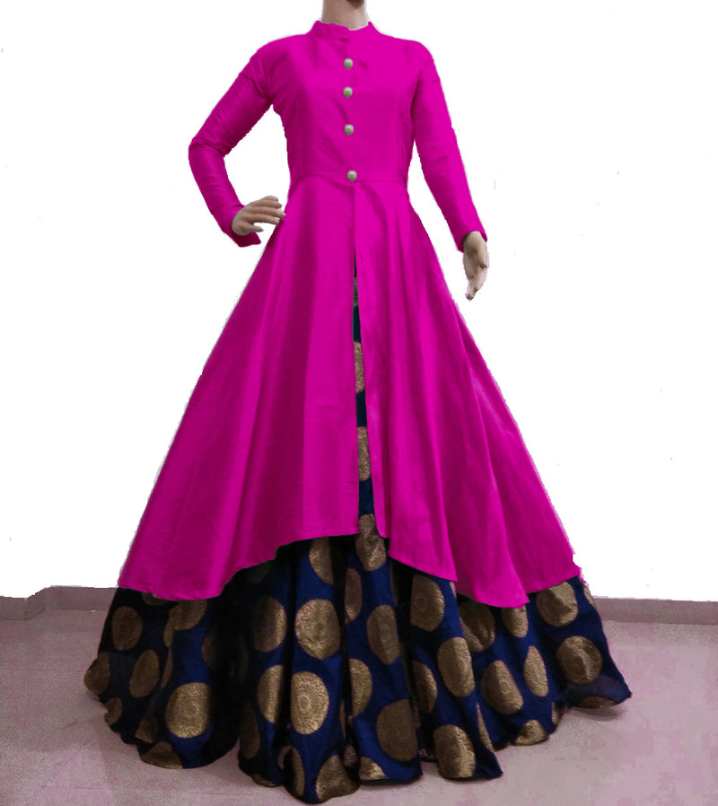 Pink and navy blue banarasi indowestern for women's
