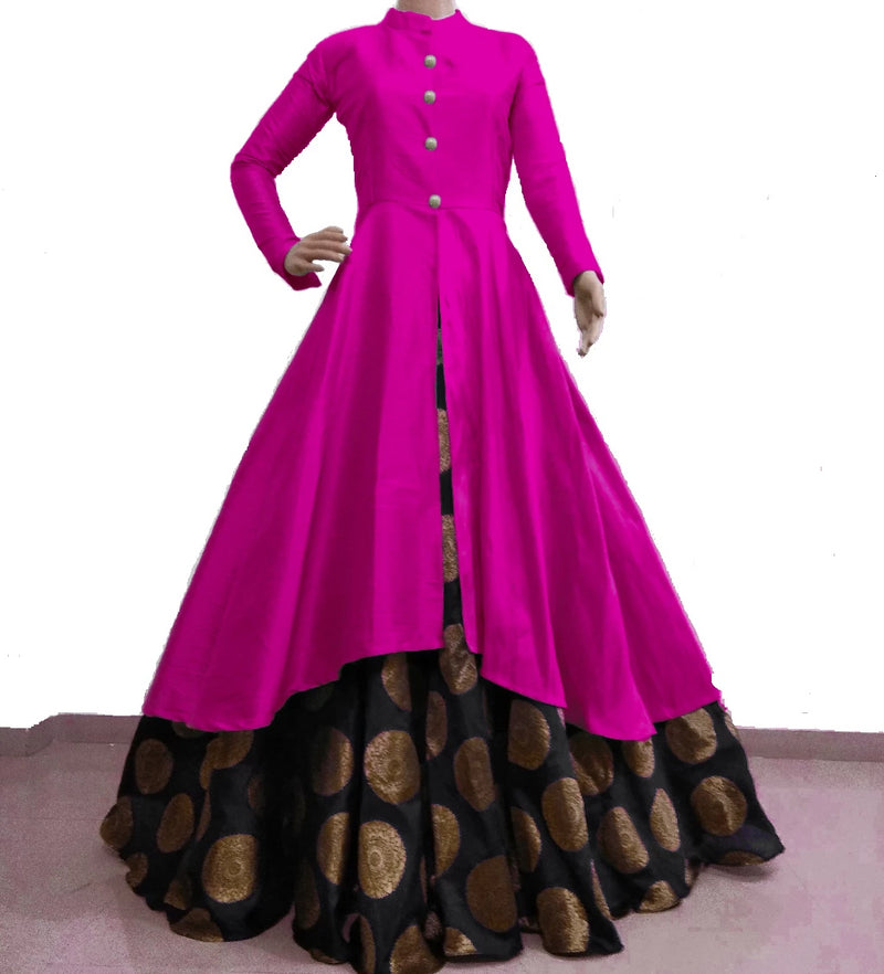 Pink with black banarasi lehnga indowestern