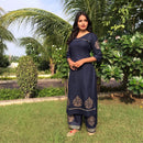 Navy blue block printed cotton kurta with plazzo