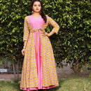 designer yellow cotton indowestern dress for women's