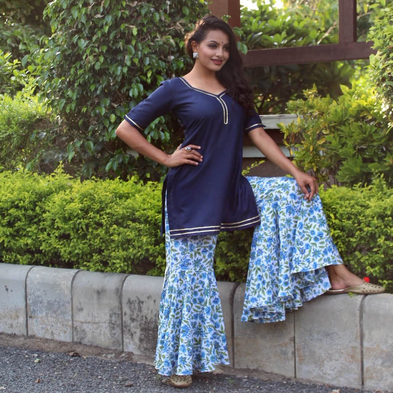 navy blue and white block printed sharara design