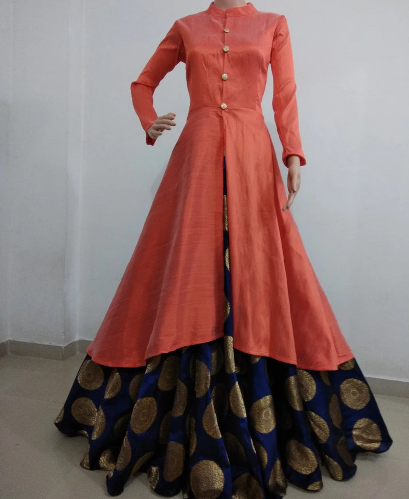 Peach and navy blue banarasi indowestern for women's