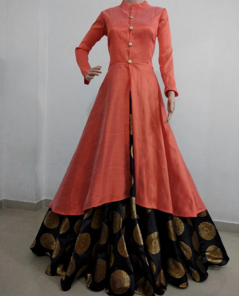 Peach with black banarasi lehnga indowestern