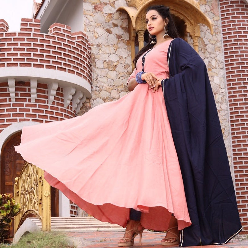Cotton flared gown with sleeves