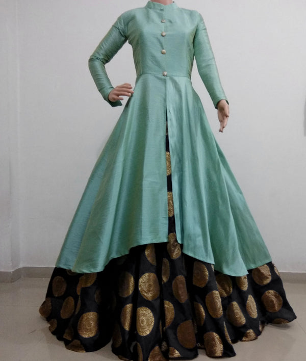 sea green with black banarasi lehnga indowestern