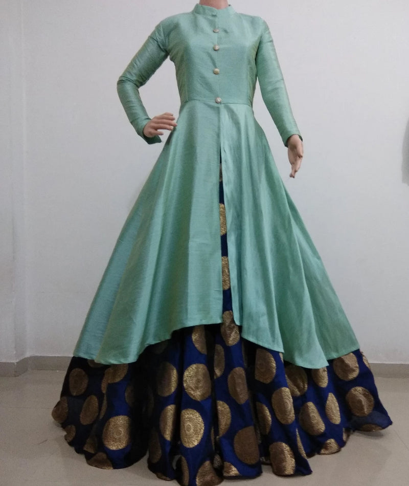 Sea green and navy blue banarasi indowestern for women's