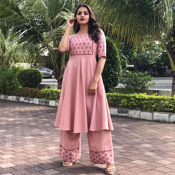 block printed peach cotton kurti with plazzo set