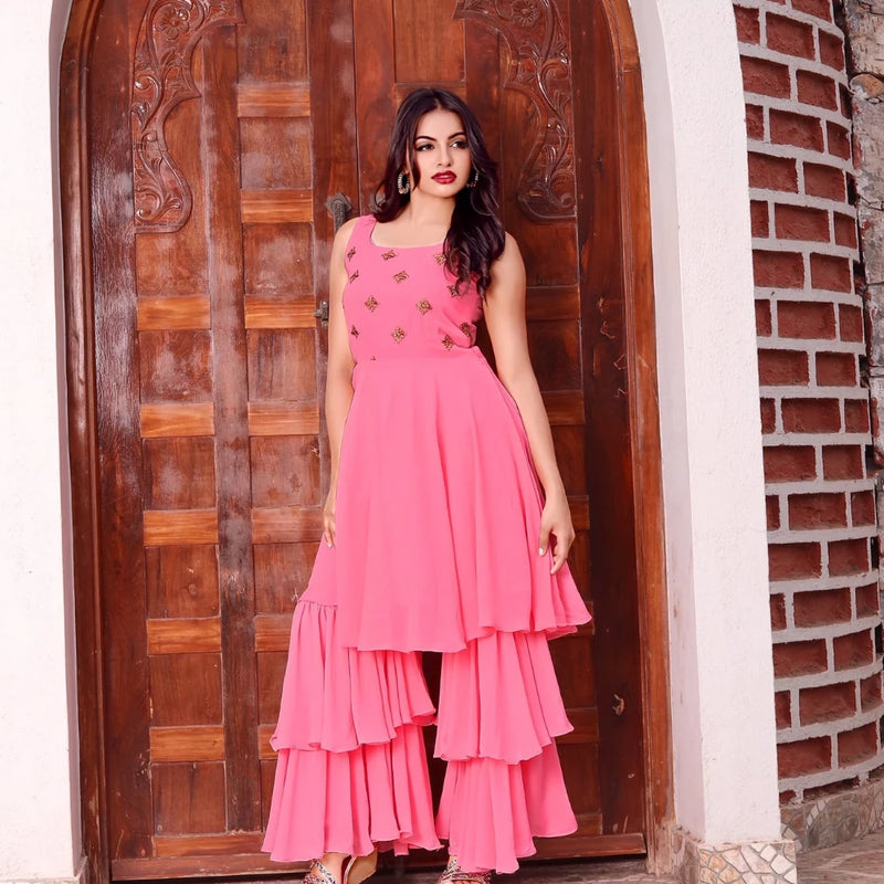 baby pink kurti with sharara set