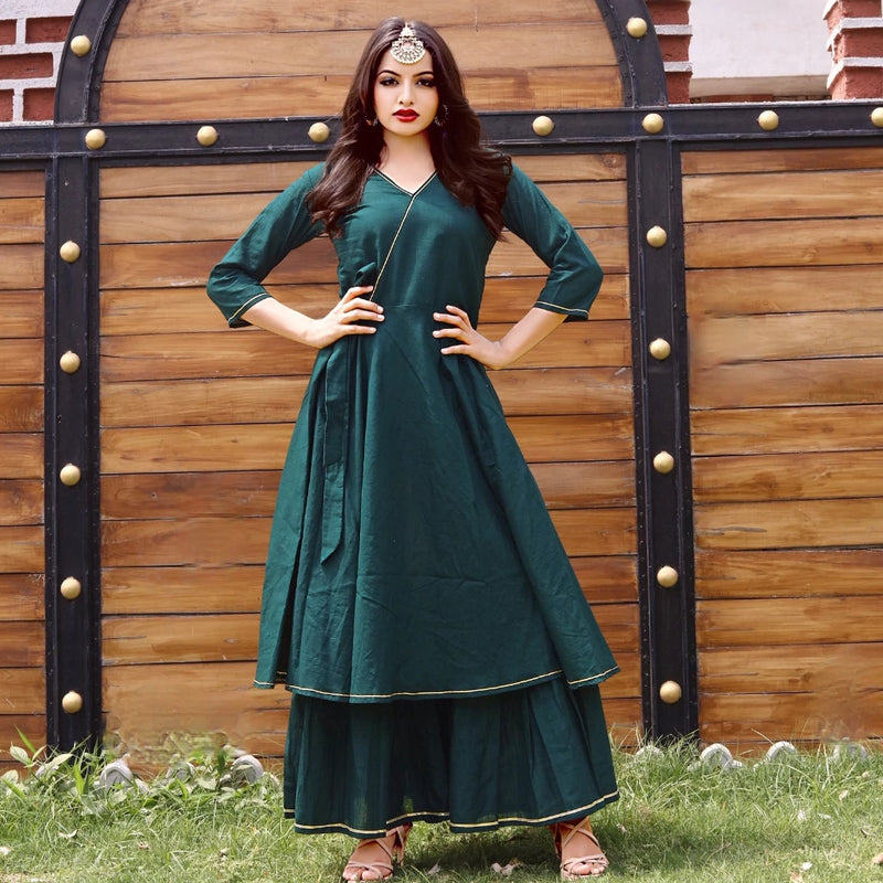 Green cotton fusion dress with plazzo