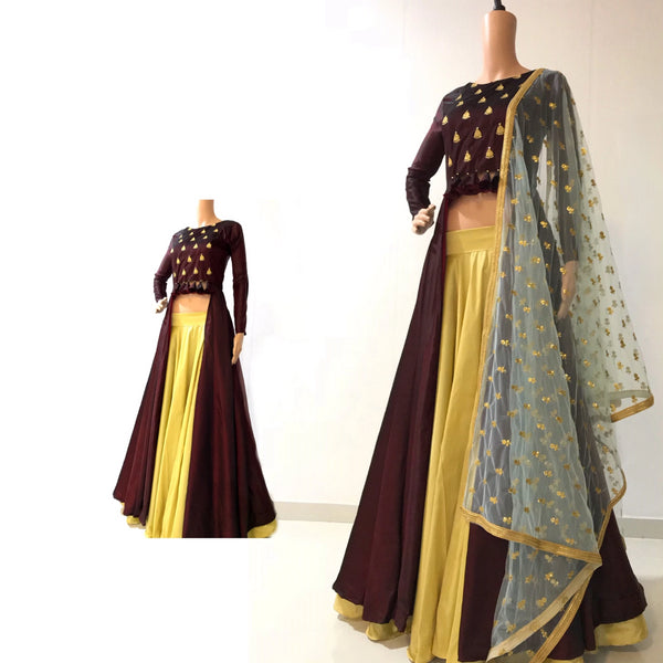 Brown indowestern with golden lehnga and sea green dupatta indowestern