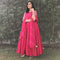 Pink long gown with lehriya dupatta