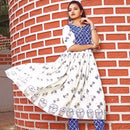 Ready to wear off white block printed dress
