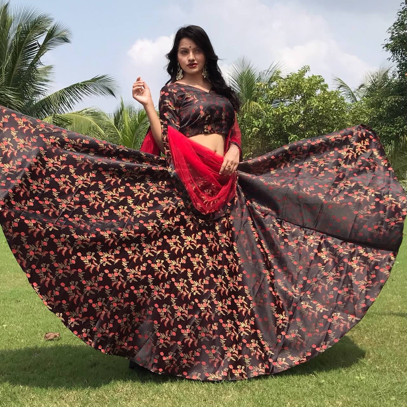 jaquard simple lehnga choli