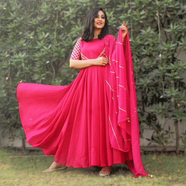 Pink cotton gown for party wear