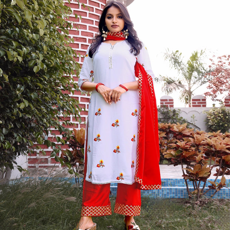 Cotton dress with red dupatta and salwar