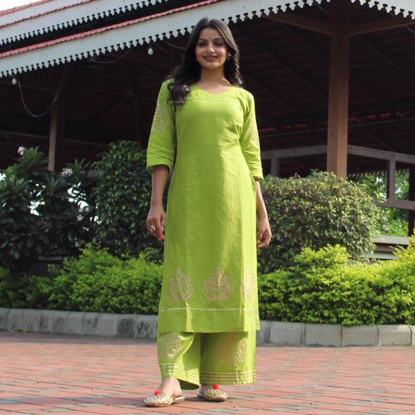 parrot block printed cotton kurta plazzo set