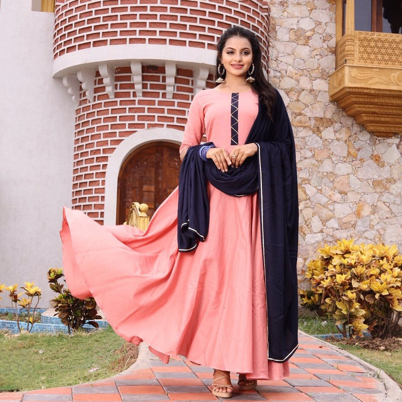 Peach cotton party wear gown with sleeves.
