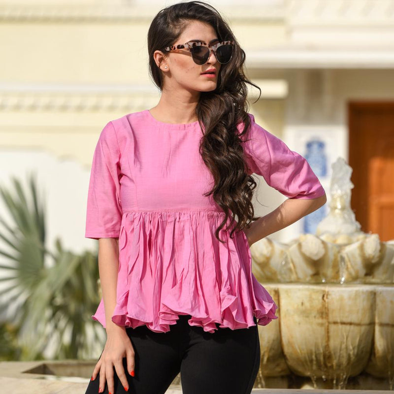 slub cotton top western wear