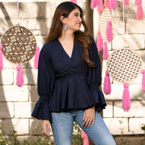 Navy blue cotton western wear cotton top