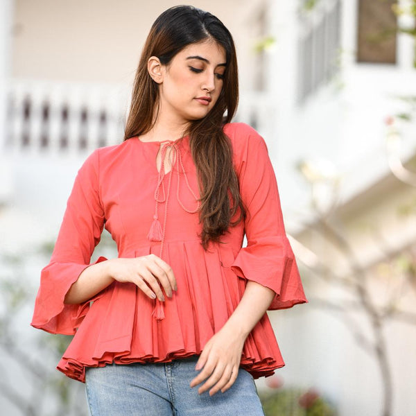Peach cotton western wear top for women's
