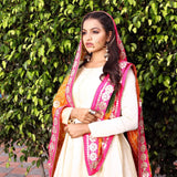 Chanderi gown with bandhani dupatta party wear long gown with sleeves