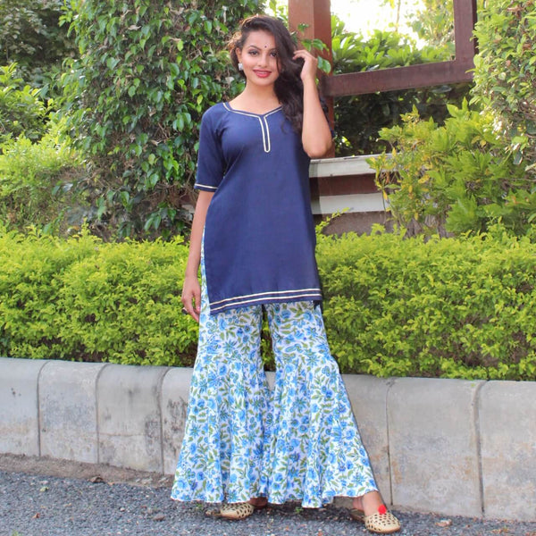 navy blue kurta with block printed sharara design