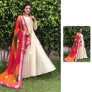 chanderi silk long gowns with bandhani dupatta