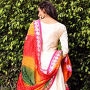 Ready to wear chanderi silk gown with bandhani dupatta
