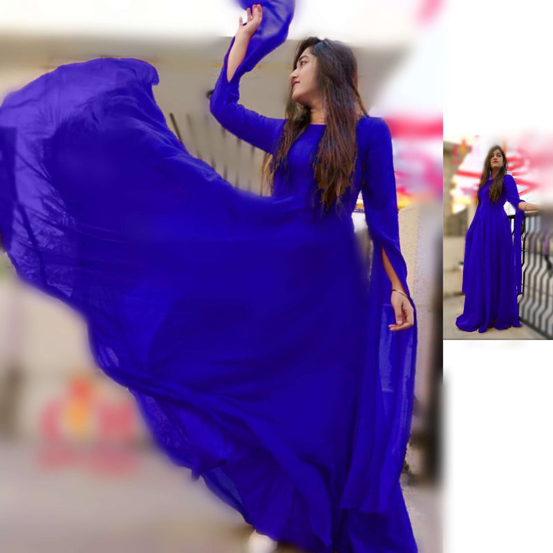 Blue georgette party wear long gowns with sleeves