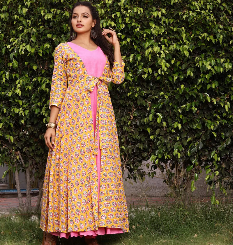yellow blockprinted shrug with pink kurtis dress