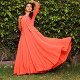 Party wear flared long gowns