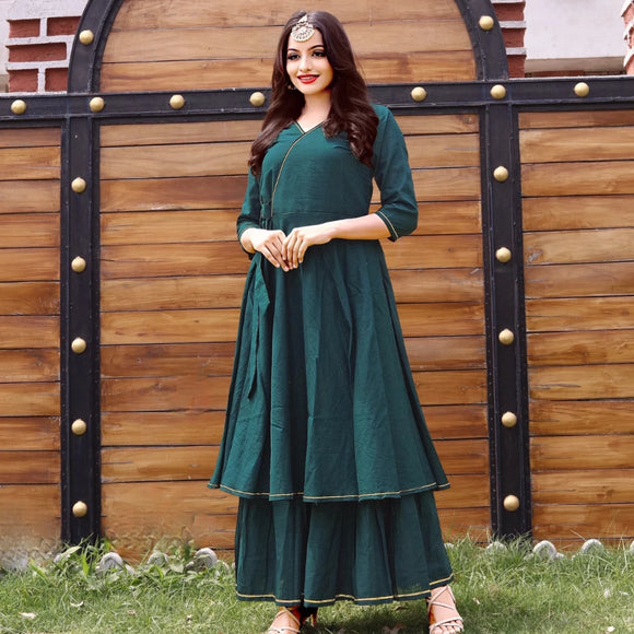 Green cotton kurta with plazzo suit