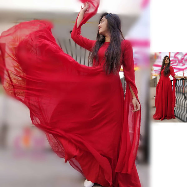 Red georgette party wear long gowns with sleeves