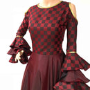 Ready to wear maroon chex printed Flared gown