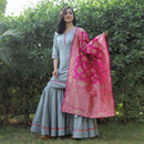 Gray sharara set with pink dupatta