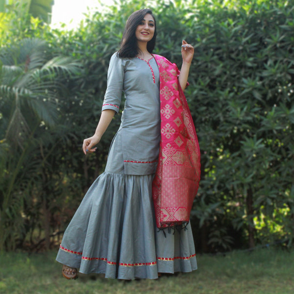 Gray sharara kurta with pink banarasi dupatta