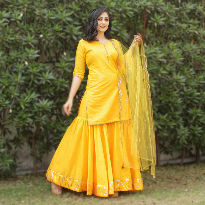 Yellow vibes sharara kurti set