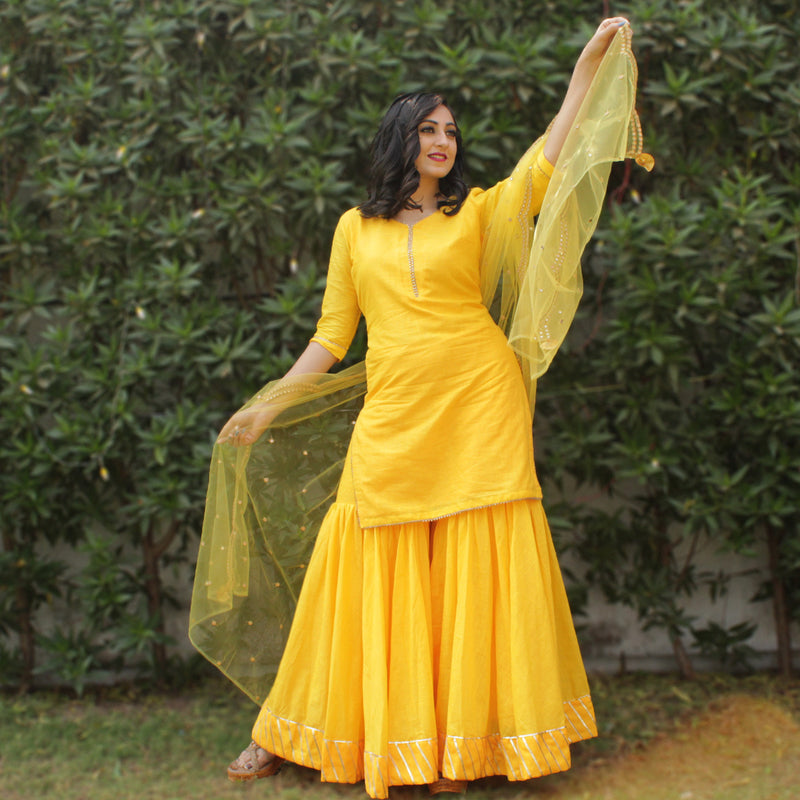 yellow sharara kurta set younari