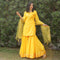 yellow kurta sharara set with net dupatta