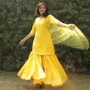 yellow vibes sharara kurta with dupatta younari